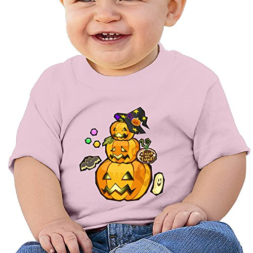 (Halloween Pumpkin Personalized Designer Graphic Baby O-neck Tee Cotton Pink Size 12)