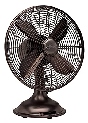 """Hunter 12"""" Retro Table Fan with All-Metal Construction"""