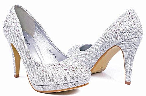 Mela05 Strass Glitter Scintillanti Bling Pompe Da Sera Formali Argento