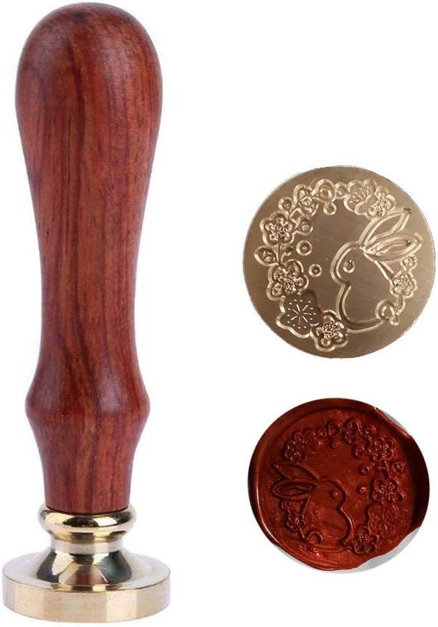 Rabbit Wax Seal Stamp, Sunsoar Animal Brass Head with Rosewood Handle Removable Sealing Stamp for Wedding Invitations Envelope Wine Packages Art Craft Decor