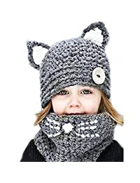 Chovon Kids Scarf and Hat Set Winter Knitted Hat Scarf Neck Warmer for Girls (Navy)