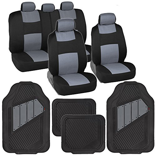 BDK Two-Tone PolyCloth Car Seat Covers w/Motor Trend Dual-Accent Heavy Duty Rubber Floor Mats - Black/Gray