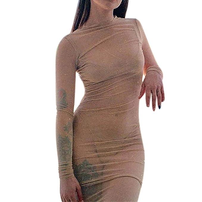 0b961fc6ee Mujer Sexy Vestidos Elegante Mini Vestido Ajustado de Moda Manga Larga Malla  Transparente Vestido Cortas Vestido de Cóctel Fiesta Gusspower  Amazon.es   Ropa ...