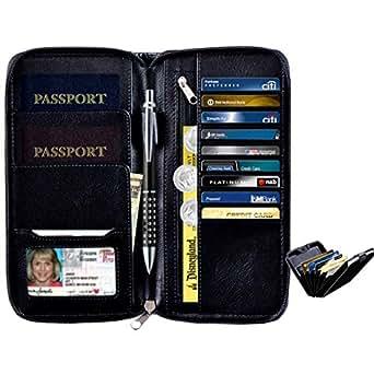 RFID Blocking Travel Passport Holder Leather Bundle WITH RFID Card holder Aluminium Credit Card Holder Best Travel Accessories for Traveling