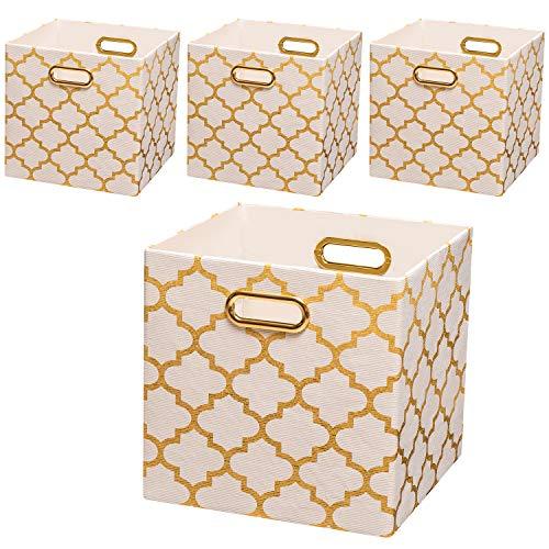Posprica Collapsible Storage Bins,11×11 Fabric Storage Baskets, 4pcs,White-Gold Lantern (Chair White Target Wicker)