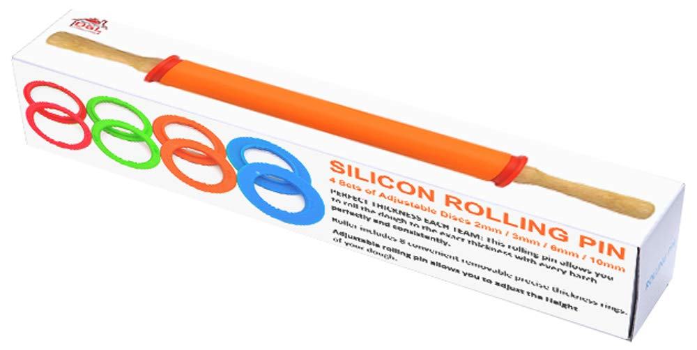 Silikon DSL Teigrolle mit Holzgriff verstellbar Antihaft-Ring 4 verstellbare Scheiben