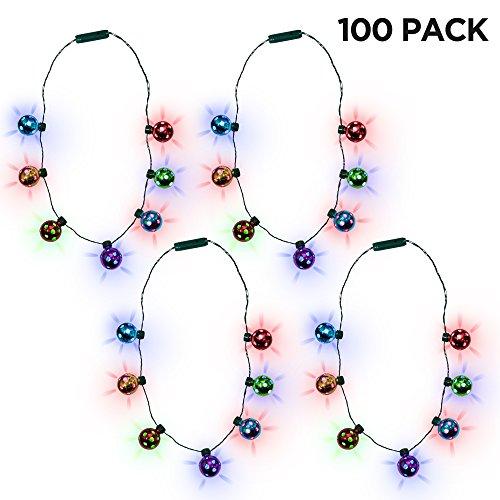 (100 Pack) Jingle Bell Light-up Christmas Necklace Wholesale Bulk Party Favors ()
