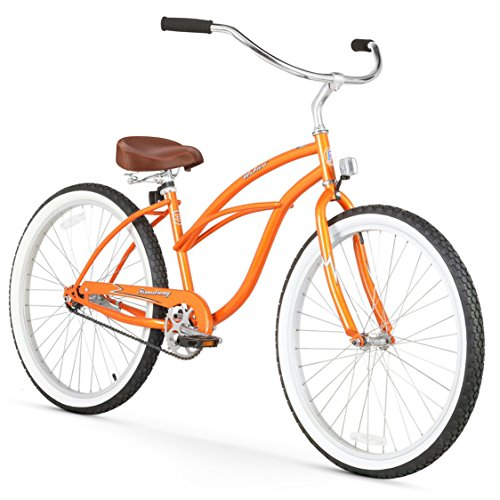 "Firmstrong Urban Lady Single Speed 26"" Beach Cruiser Bicycle, Orange w/ Brown Seat"