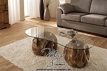 UNIKAT Design Wohnzimmertisch Couchtisch TEAKHOLZ 137cm Glastisch Beistelltisch