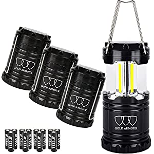 Gold Armour Brightest Camping Lantern (EMITS 350 LUMENS!) 4 Pack LED Lantern - Camping Equipment Gear Lights for Hiking, Emergencies, Hurricanes, Outages, Storms, Great Gift Set