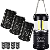 Gold Armour Brightest Camping Lantern (EMITS 350 LUMENS!) LED Lantern - Camping Equipment Gear Lights for Hiking, Emergencies, Hurricanes, Outages, Great Gift Set (4Pack Black)