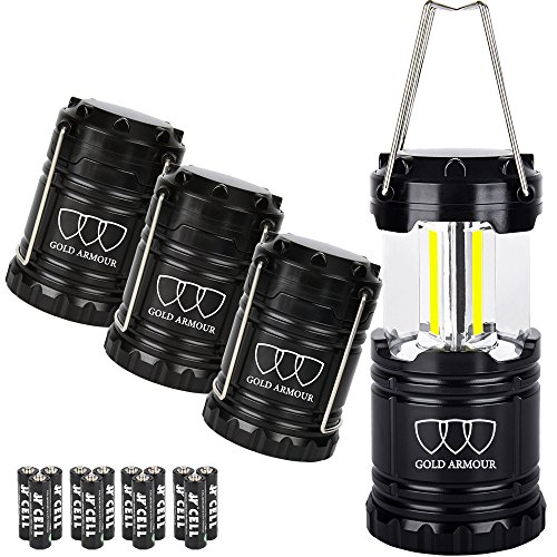 Gold Armour Brightest Camping Lantern (EMITS 350 LUMENS!) LED Lantern - Camping Equipment Gear Lights for Hiking, Emergencies, Hurricanes, Outages, Great Gift Set (4Pack Black) by Gold Armour
