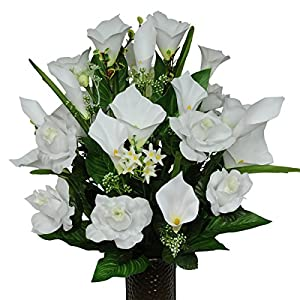 White Rose and Calla Lily Mix Artificial Bouquet, featuring the Stay-In-The-Vase Design(c) Flower Holder (MD1146) 10