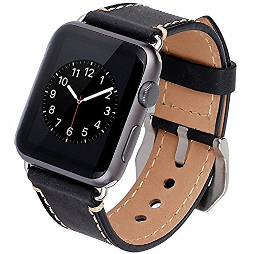 Apple Watch Band, 42mm iWatch Band Strap Premium Vintage Genuine Leather Replacement Watchband with Secure Metal Clasp Buckle for Apple Watch Sport Edition (Black)