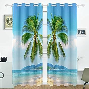 Amazon Com Jstel Palm And Tropical Beach Curtains Drapes