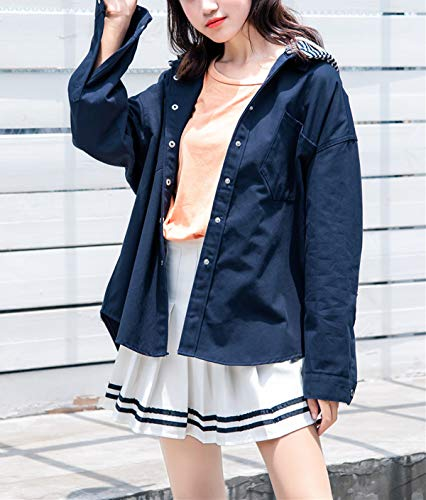 Patchwork Corto Con Giacche Lunga Autunno Outerwear Cappuccio Donne Hoodie Manica Giacca Blu Sciolto A Righe Cappotto Primavera Moda Navy Coat Vento Jacket Quotidiani Cime Casual tTCwxUpwq