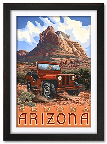 (Northwest Art Mall Sedona Arizona Jeep Professionally Framed & Matted Giclee Travel Art Print by Paul A. Lanquist. Print Size: 24