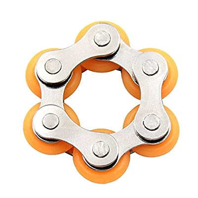 Rolling Stainless Steel Bike Chain Fidget Toys Relieve Your Stress, Anxiety, & Boredom all at your Finger Tips! Also Helps ADD, ADHD, & Autism (R-Orange)