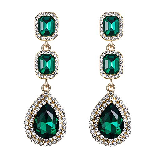 BriLove Women's Fashion Wedding Bridal Crystal Teardrop Multi Layers Beaded Dangle Earrings Emerald Color Gold-Toned