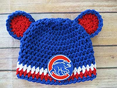 NEWBORN - 3 months, Crochet Chicago Cubs Hat, Cubs Walking Bear patch, shower gift, baby's 1st hat
