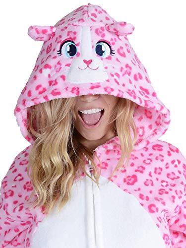 Yelete Plush Pink Leopard Animal Adult Jumpsuit Pajama Costume, S/M