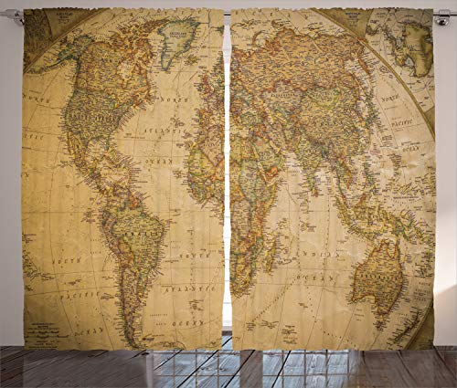 Ambesonne Wanderlust Decor Collection, Anthique Old World Map in Retro Color with Vintage Nostalgic Design Art Print Deco, Living Room Bedroom Curtain 2 Panels Set, 108 X 84 Inches, -