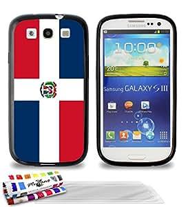 """Carcasa Flexible Ultra-Slim SAMSUNG GALAXY S3 de exclusivo motivo [República Dominicana Bandera] [Negra] de MUZZANO  + 3 Pelliculas de Pantalla """"UltraClear"""" + ESTILETE y PAÑO MUZZANO REGALADOS - La Protección Antigolpes ULTIMA, ELEGANTE Y DURADERA para su SAMSUNG GALAXY S3"""