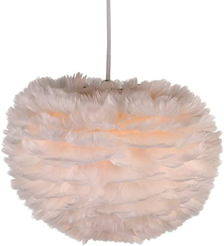 Newrays Nordic Modern Feather Pendant Light Fixture Creative Personality Art Lamps for Bedroom Kitchen Restaurant Living Room Small