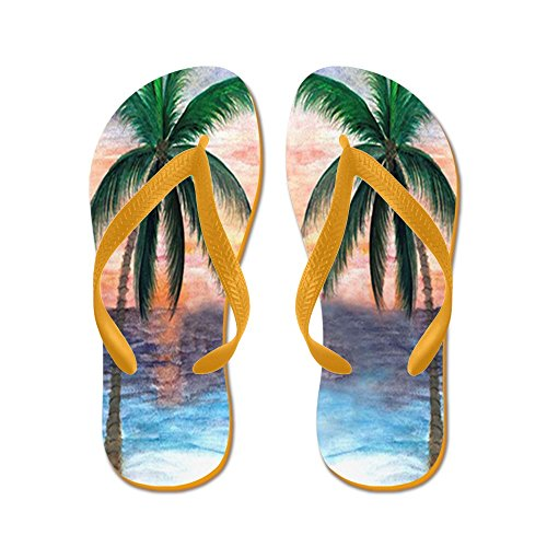 Cafepress Sunset Palms - Chanclas, Sandalias Thong Divertidas, Sandalias De Playa Naranja