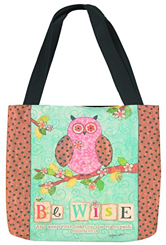 Manual Woodworkers and Weavers SOBW Be Wise Tote Bag Printed Fabric Bright Colors 16 X 14 ()