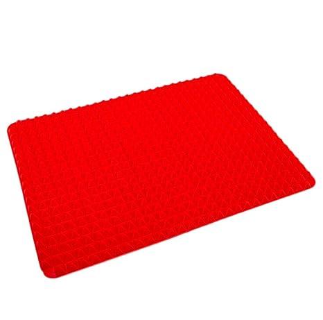 DaoRier Rojo Bandeja de horno Lámina de horno Almohadilla de silicona Bandeja multifuncional para hornear Microondas
