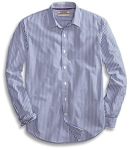 (Goodthreads Men's Standard-Fit Long-Sleeve Banker Striped Shirt, Blue, Large)