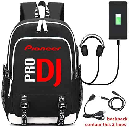 35a3a9748f Pioneer DJ PRO Printing Backpack Students School Bags Teenagers USB  Charging Laptop Daypacks (Black)