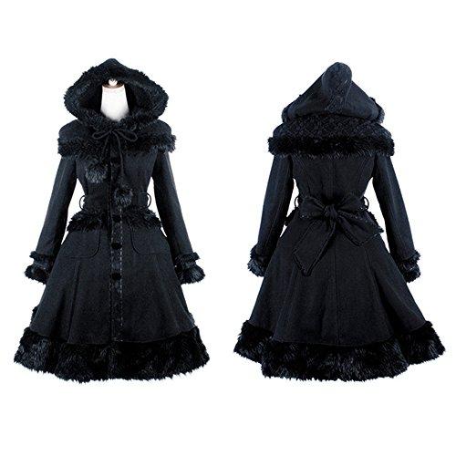 Lolita Coat - PUNK Gothic Lolita Women Woolen Fur Coats Autumn Winter Shawl Long Jacket Casual Overcoat (M, Black)