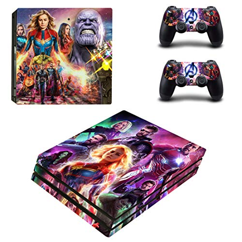 Decal Moments PS4 Pro Console Skin Set Vinyl Decals Stickers for Playstation 4 Pro Console Dualshock 2 Controllers Avengers (PS4 Pro Only)