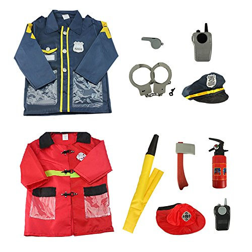 TopTie Police Officer & Fire Chief Role Play Costume for Kids Halloween Dress-up Set