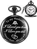 Pangda Quartz Pocket Watch to Husband Gift, Anniversary Gift Valentine's Day Gift, Engraved Pocket Watch, Black Dial (White)