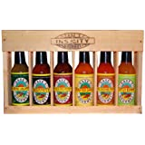 Dave's Gourmet Spicy Six Pack Crated Hot Sauce Collection w/ Insanity Sauce is A Great Gift Fun to Collect and Eat. Sauce Go From Mild to Beyond Wild. Work You Way Up To Insanity. A Wood Set of Flavor and Fire