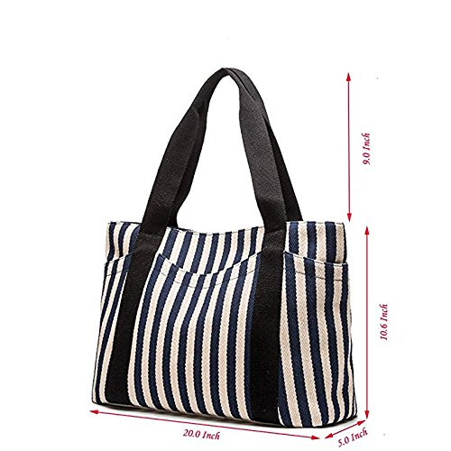 Handbag Heavy Pocket with Women Top Canvas Zipper Shoulder Cotton Outer for KAMIERFA Blue Striped 1q7EXX