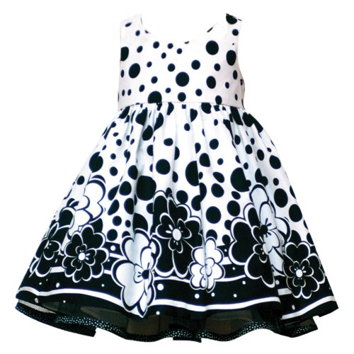 Rare Editions TODDLERS 2T-4T WHITE BLACK WOVEN FLORAL BORDER DOT PRINT Special Occasion Flower Girl Party Dress