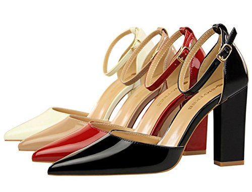 DADAWEN Women's Pointed Toe Block Heel Ankle Strap Dress Pumps Wedding Bridal Court Shoes Black iJjMaZh0