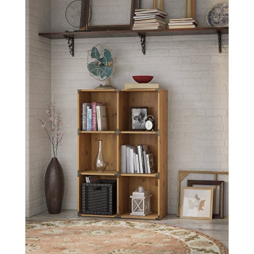 Rustic Pine Bookcase - Kathy Ireland Office KI50102-03 Ironworks 6 Bookcase in Vintage Golden Pin, 6 Cube, Vintage Golden Pine