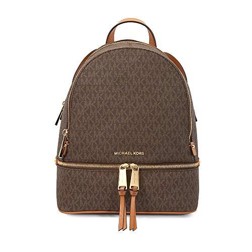 Michael Kors Rhea Zip Backpack (Medium, Signature Brown)
