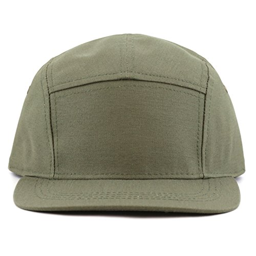 Panel Buckle (THE HAT DEPOT Made in USA 5 Panel Genuine Leather Brass Closure Flat Brim Biker Cap (Olive))