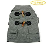 "Pet Life Military Grey Rivited Wool Dog Coat X-Small - (8"" Neck to Tail) - Pack of 12"