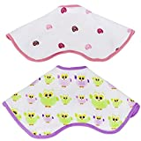 2 Triple Layers Baby Burp Bibs Cloths Rags For Burping And Drooling. Super Soft Absorbent Muslin Cotton Baby Bibs And Burp Cloths. Cute Colorful and Comfortable Bibs For Girls.