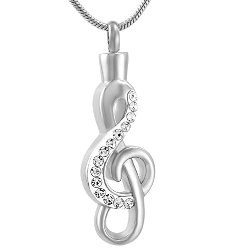 constantlife Stylish Music Symbols Stainless Steel Urn Necklace for Ashes  Keepsake Urns