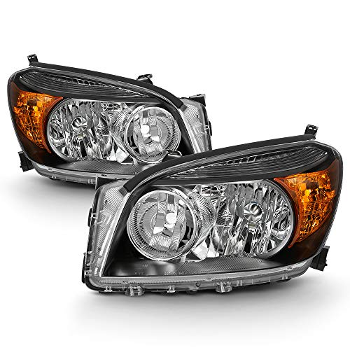 ACANII - For 2006 2007 2008 Toyota RAV4 Headlights Black Headlamps Replacement 06-08 Driver & Passenger Side