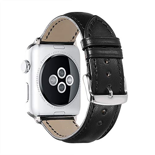 iStrap Compatible/Replacement for Apple Watch Band 38mm 42mm 40mm 44mm Calf Leather Band Adapter Replacement Series 3&2&1 Edition Sport Black Brown (1 2 Male To 3 8 Female Adapter)