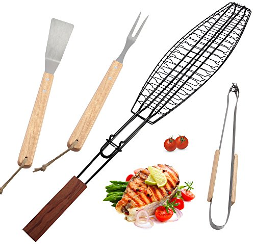ROMANTICIST Non Stick Extra Large Fish Grill Basket for Grilling Any Fish Up to 16-4pc Heavy Duty Stainless Steel Grill Accessories Set - Grilling Basket Spatula Fork Tongs - Grill Gift for Men